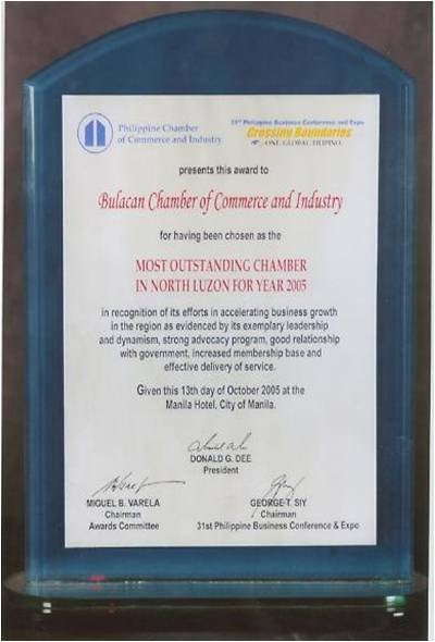 Most Outstanding Chamber in North Luzon Year 2005