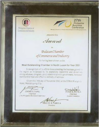 Most Outstanding Chamber in North Luzon Year 2001